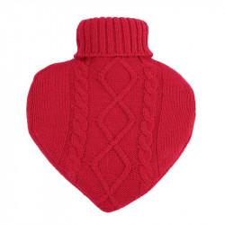 Grossiste bouillotte en laine en forme de coeur 1L rouge