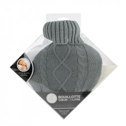 Grossiste bouillotte en laine en forme de coeur 1L gris