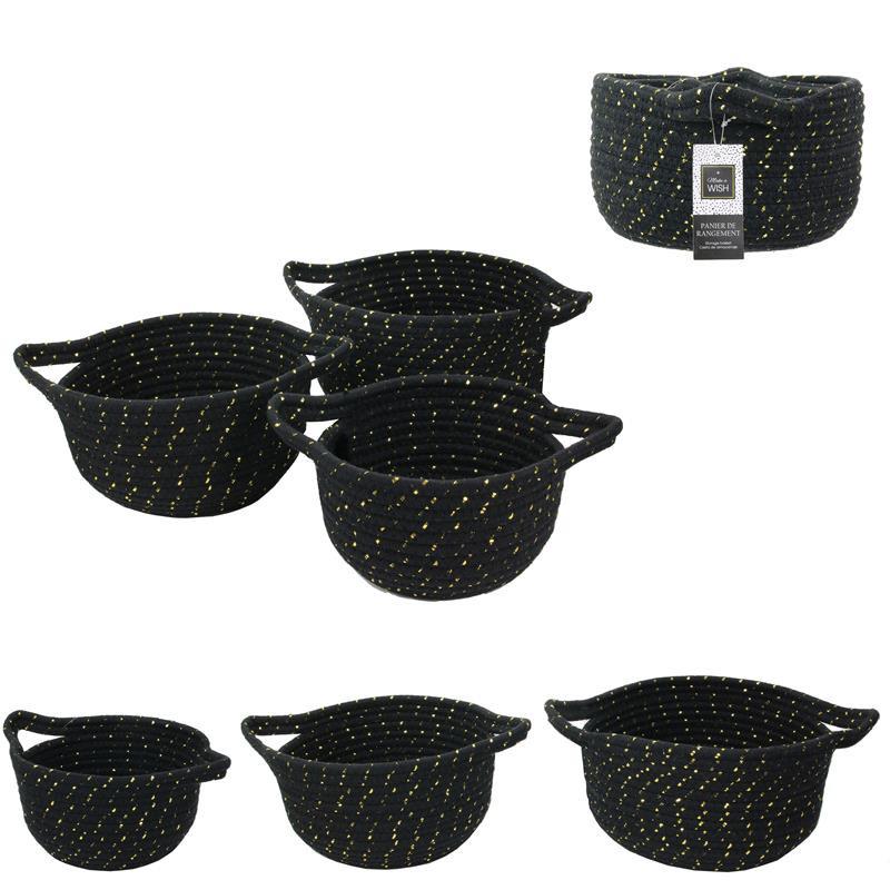 Grossiste panier de rangement noir et fibre dorée x3