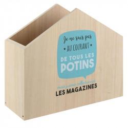 Grossiste range magazines en bois bleu à message