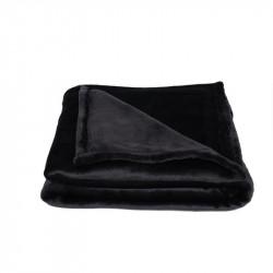 Grossiste plaid flanelle noir à pompons 120x150cm