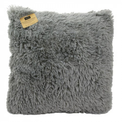 Grossiste coussin gris à poils longs 40x40cm