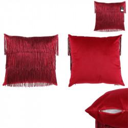 Grossiste coussin en velours avec des franges rouges Gatsby 40x40cm