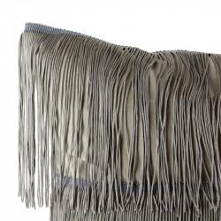 Grossiste coussin en velours avec des franges grises Gatsby 40x40cm