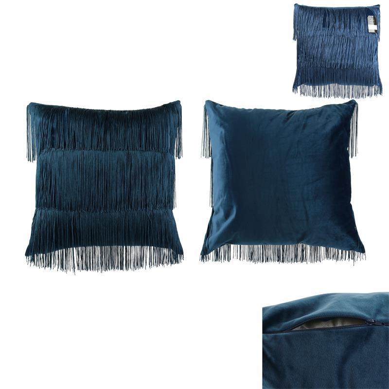 Grossiste coussin en velours avec des franges bleues Gatsby 40x40cm