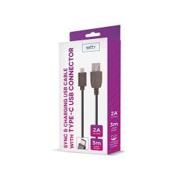 Câble USB noir 3m 2A type-C