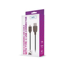Câble USB noir 1m 1A type-C