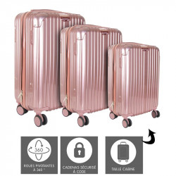 Grossiste valise rose Paris x3 (40L - 65L - 100L)