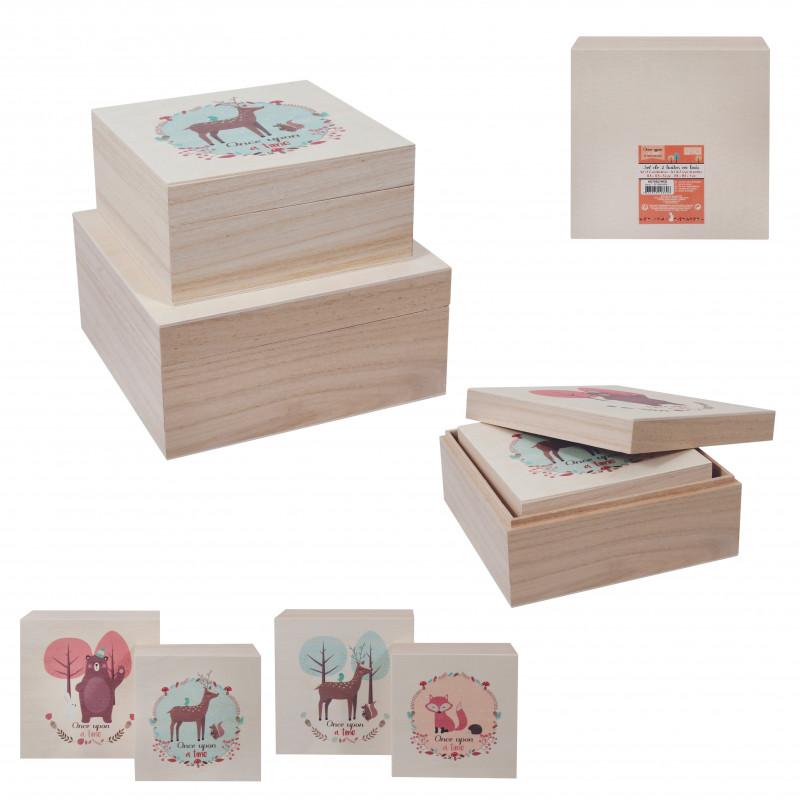 Grossiste boîte en bois gigogne x2 Once upon à time