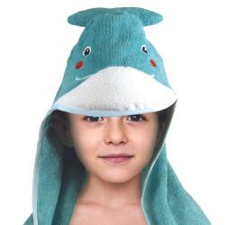 Grossiste cape de bain pour enfant 84x84cm bleue