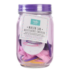Grossiste Mason jar violet avec accessoires cheveux