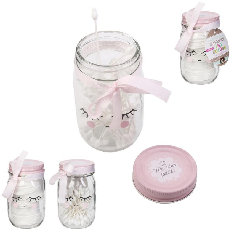 Grossiste Mason jar avec disques de cotons rose| Tradaka