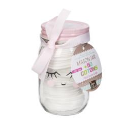 Grossiste Mason jar avec disques de cotons rose
