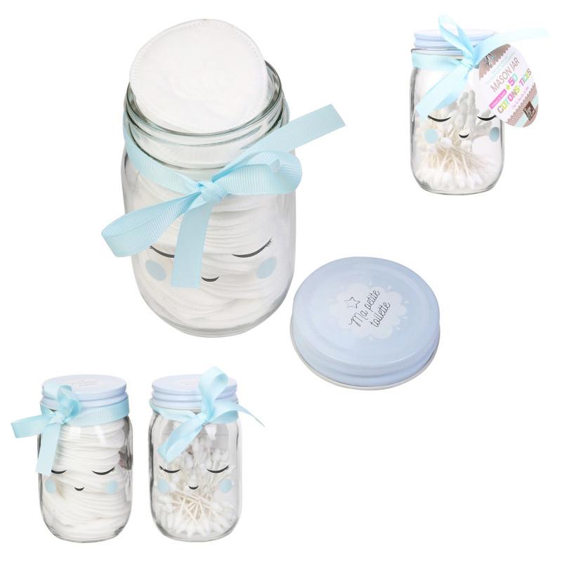 Grossiste Mason jar avec disques de cotons bleus