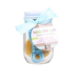Grossiste Mason jar spécial beauté bleu