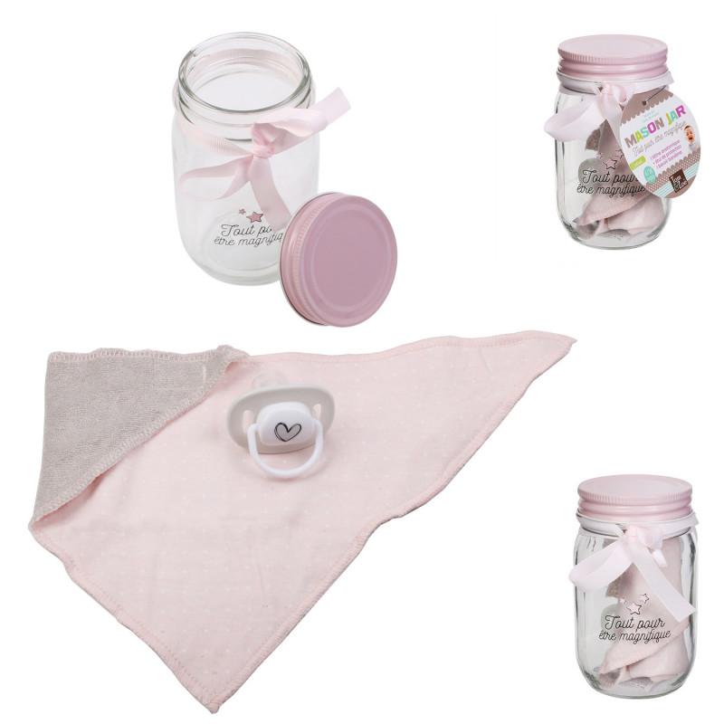 Grossiste Mason jar spécial bandana et tétine rose