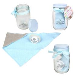 Grossiste Mason jar spécial bandana et tétine bleu
