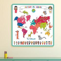 Grossiste tapis carte du monde à colorier avec 5 feutres