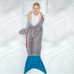 Grossiste plaid avec illustration requin 56x132cm