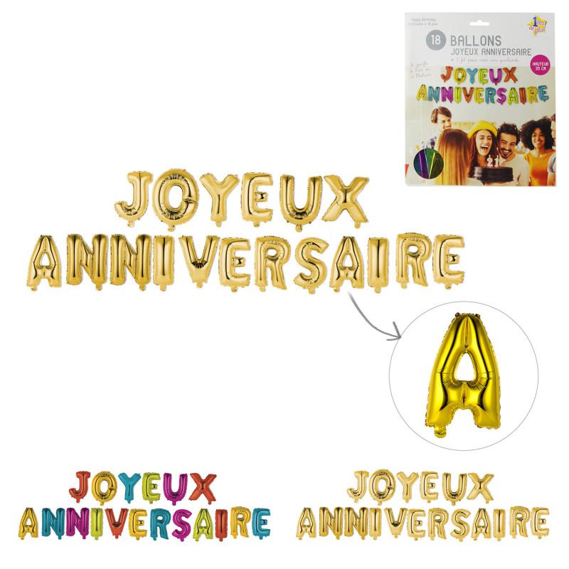 Grossiste ballon Joyeux anniversaire 35cm lettre x18