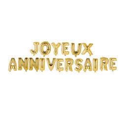 Grossiste ballon Joyeux anniversaire 35cm lettre dorée x18