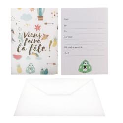 Grossiste carte d'invitation spécial anniversaire verte x6