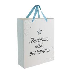 Grossiste sac cadeau spécial naissance 27x8x32cm bleu