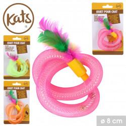 Grossiste jouet pour chat forme tourbillons avec plume et clochette