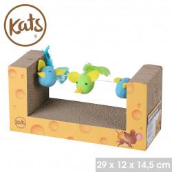 Grossiste grattoir à chat avec 3 jouets - 29x12x14,5cm