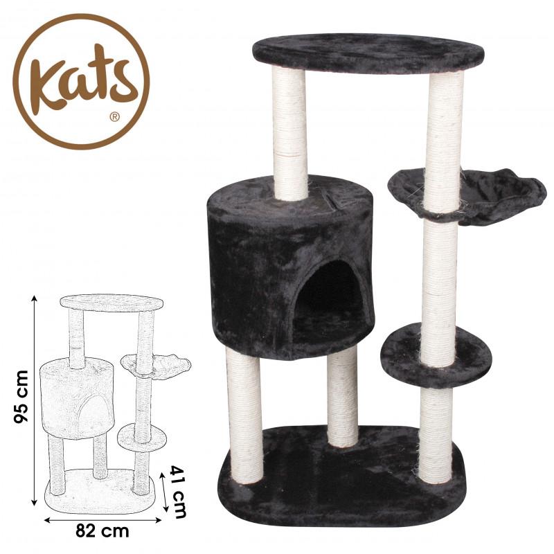 grossiste arbre chat noir et blanc 82x41x95cm tradaka
