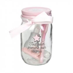 Grossiste Mason jar spécial hygiène rose