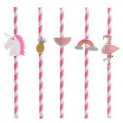 Grossiste paille d'anniversaire rose x10