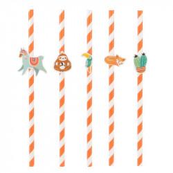 Grossiste paille d'anniversaire orange x10