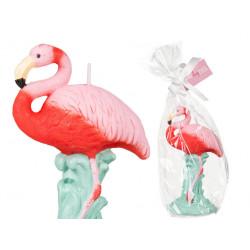 Bougie sculptée flamant rose