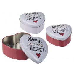 Boîte cœur en métal 12 x 5...