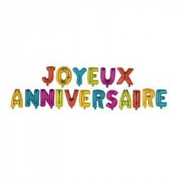 Grossiste ballon Joyeux anniversaire 35cm lettre multicolore x18