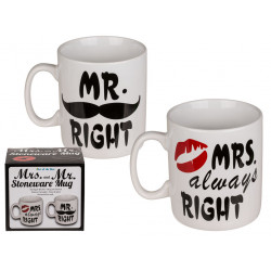 Grossiste mug en faïence mr right mme always