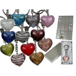 Porte clé coeur en verre