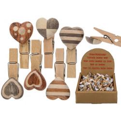 Pince clip en bois coeur