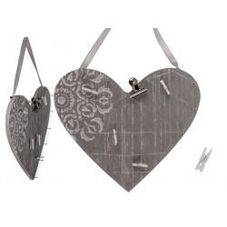 Grossiste coeur en bois et métal 5 clips