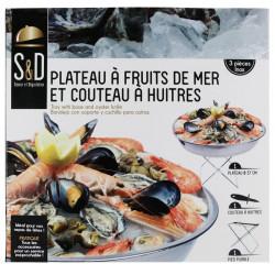 Grossiste et fournisseur. Plateau avec support et couteau à huîtres.