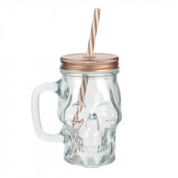 Skull Mason jar mug glass -...