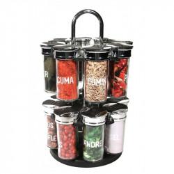 Grossiste et fournisseur. Carrousel à épices rotatif - 2 étages - 16 pots avec étiquette