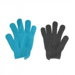 Grossiste et fournisseur. Gant exfoliant x 2 bleu-gris