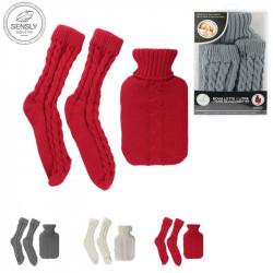 Grossiste et fournisseur. Bouillotte en laine de 1L et chaussettes côtelées