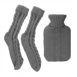 Grossiste et fournisseur. Bouillotte en laine de 1L et chaussettes côtelées gris