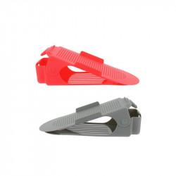 Grossiste et fournisseur.  Range-chaussures ajustable en plastique x 2 gris et rouge