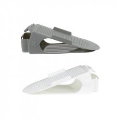 Grossiste et fournisseur.  Range-chaussures ajustable en plastique x 2 gris et blanc