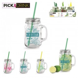 Glass mug with straw - 15oz