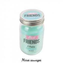 Grossiste et fournisseur. Bougie Mason Jar Best friends verte